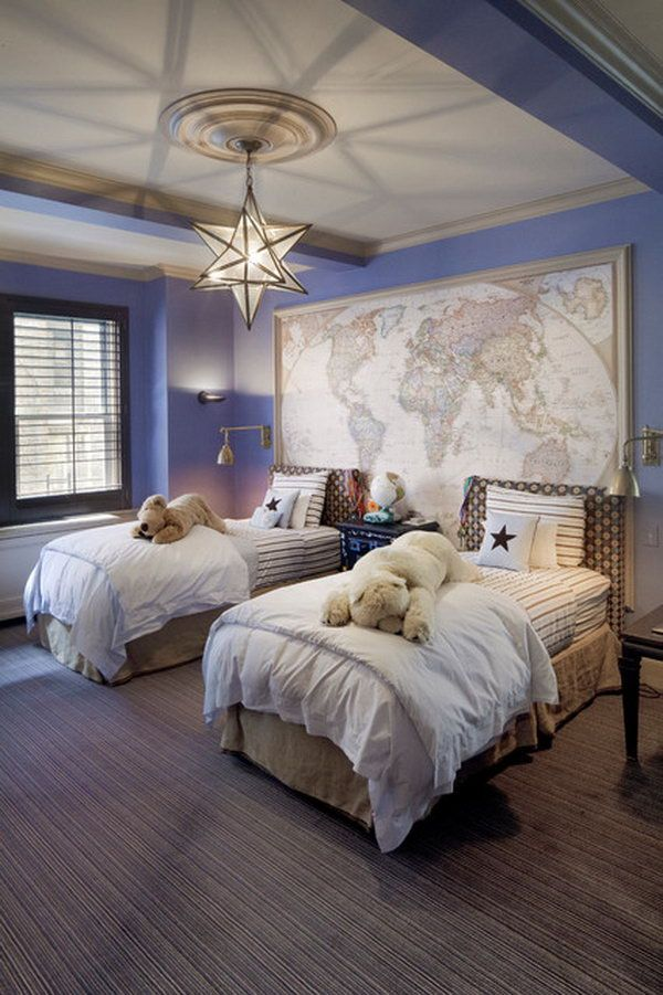 Accdent Wall: This bedroom is warmed up by the fixture's soft glow such as the carpet, the trim, the window in neutral colors. The map as an accent matches the periwinkle purple wall very well. The vintage star lantern is a great addition to this warm bedroom.