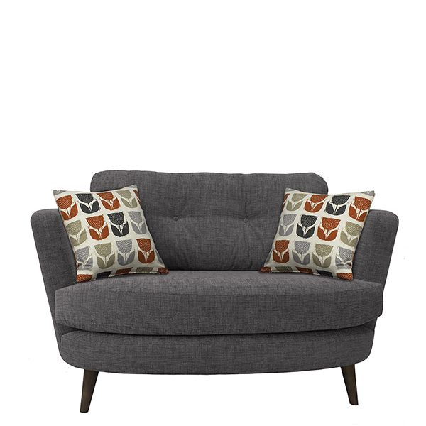 Myers Oval Cuddler   Add a retro look to your living room with this mid century modern inspired loveseat, which seats two people.