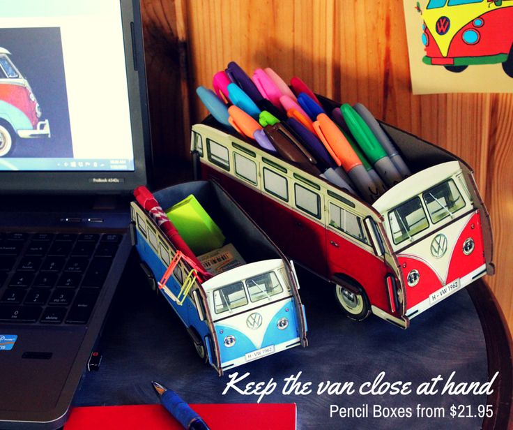 Vintage VW Buses right there on your desk. Keep your stuff organized and keep yourself inspired!