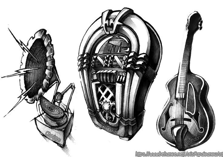 Guitar-Jukebox-Gramophone ( Newschool-graffiti Sketch )