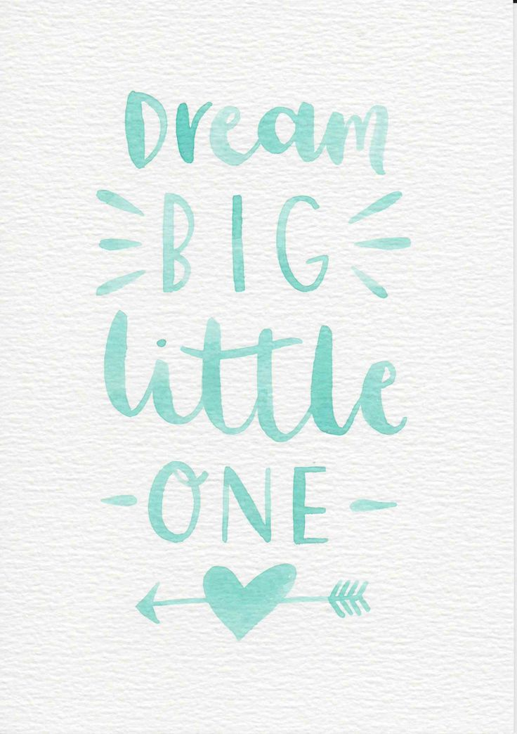 Dream Big Little One Quote, Baby Gift, Nursery Wall Art, Mint Green Nursery Wall Art, Boys Room Decor, Mint Kids Room, Gouache Painting by violetandalfie on Etsy