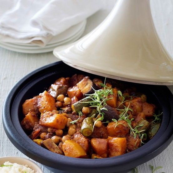 Summer Vegetable Tagine - A complete vegetarian meal made using the tagine (can also be made in a heavy pot or Dutch oven.
