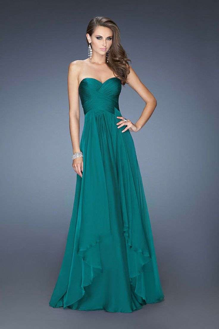 Teal Chiffon Sweetheart a Line Strapless Long Prom Dress – fashion ...
