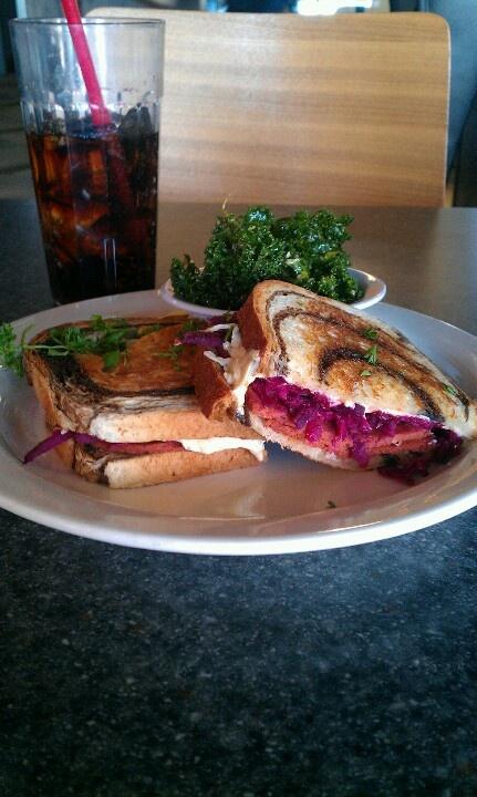 Vegan reuben sandwich with kale salad from Green Vegetarian Cuisine in San Antonio.