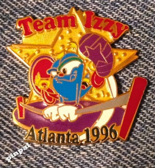 Gymnastics olympic pin #badge~high bar~mascot #izzy~1996 #atlanta~usa team,  View more on the LINK: http://www.zeppy.io/product/gb/2/331845049794/