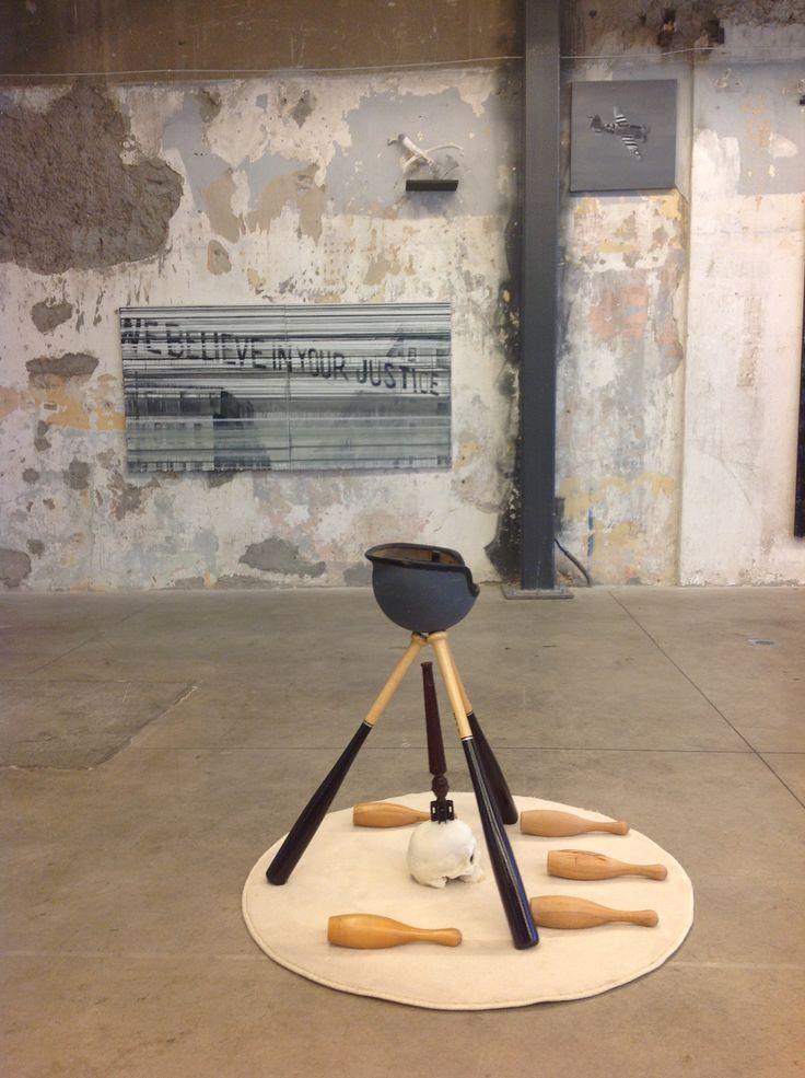 """""""Τοπίο Μνήμης"""", orange water / Nikos Papadimitriou, """"baseball warset"""", installation view, the loft, Athens.  Works at the background by K.Tsolis, N.Papadimitriou."""