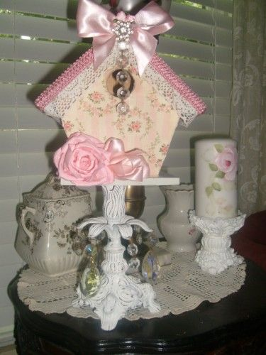 Shabby & Chic Cottage Embellished Birdhouse-shabby,cottage,designs,roses,hand painted,decor,birdhouse,chic,vintage,distressed,