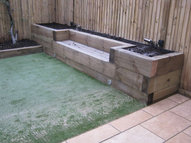 railway sleepers - RAISED GARDEN and BENCH SEAT -