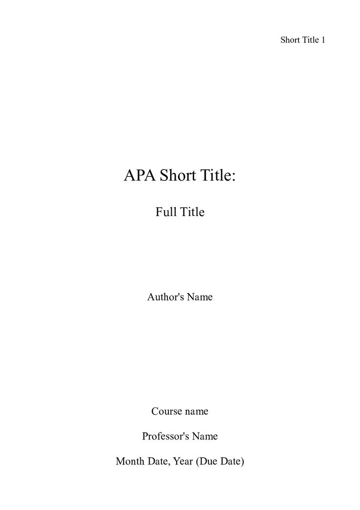 picture of of an apa title page