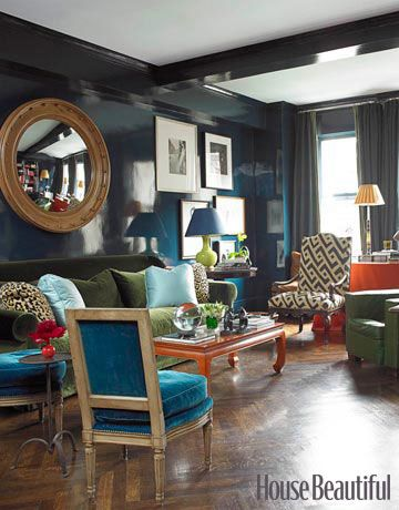 "In a Manhattan apartment designed for a couple in the fashion world, Miles Redd lacquered walls in Farrow & Ball's Hague Blue, ""a great way to do a moody color because of the way it reflects light. It doesn't look dark so much as rich.""   - HouseBeautiful.com"