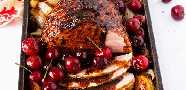Roasted Gammon with Cherry and Red Wine Sauce