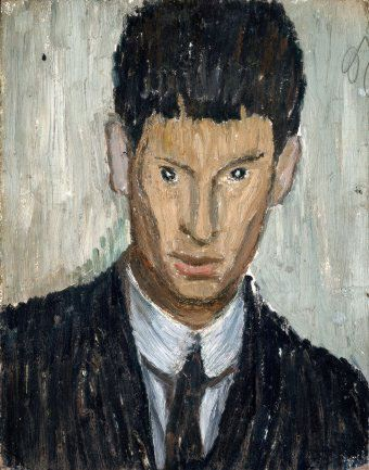 Osvaldo Licini, (1894-1958) Self-Portrait.   Licini's abstract work is singularly distinct from other Italians of his time. His abstract painting and poetry are both powerfully lyrical. His work was freed from the cage of the geometric rationalism through color, imagination and an indication of a coming climate of the Expressionism. In this way his work can be said to parallel that of Paul Klee.