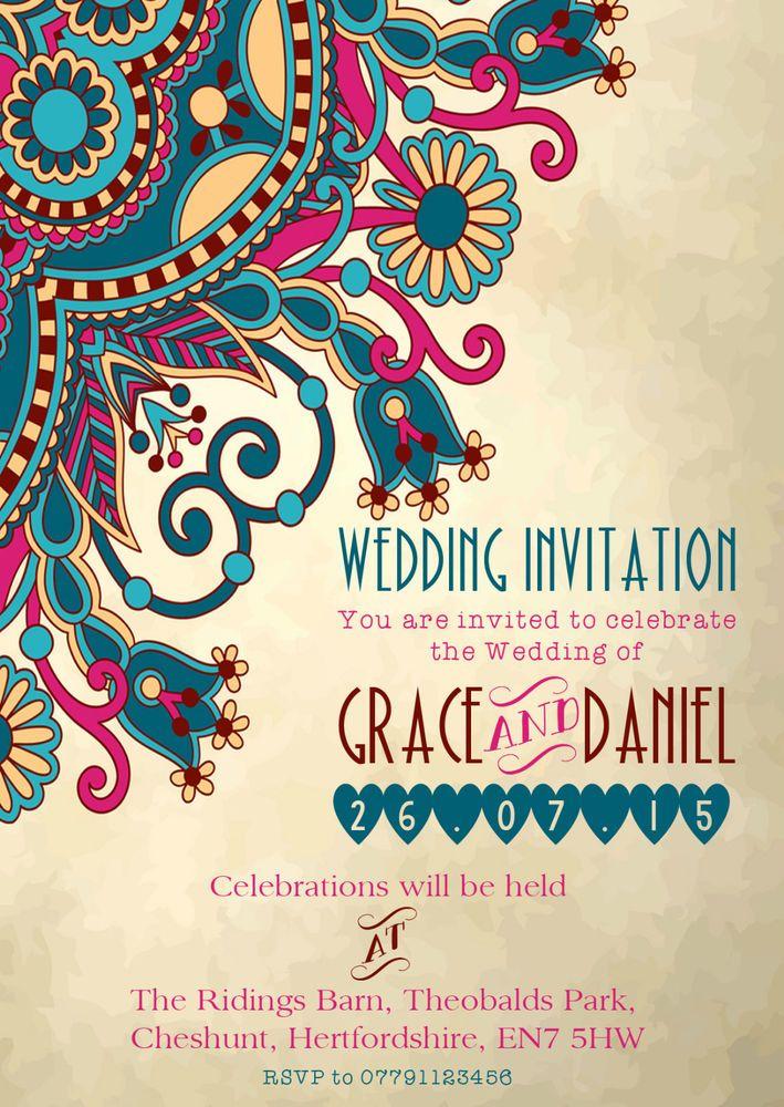 PERSONALISED MOROCCAN/INDIAN ELEGANT WEDDING INVITATIONS
