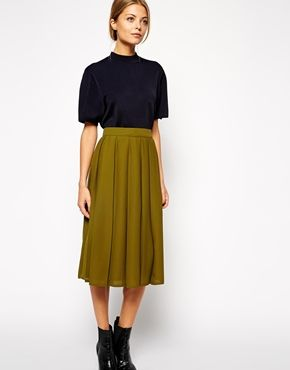 Pleated Khaki Skirt