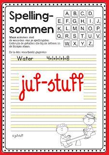 Werkblad te gebruiken bij spelling (soort scrabble voor kinderen) Juf-Stuff: Spellingsommen