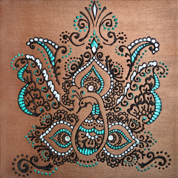 Regal Peacock- Digital PHOTO Print File of ORIGINAL PAINTING - Henna Mehndi Art - Office, home decor, gift, choose size, can be framed.. $15.00, via Etsy.