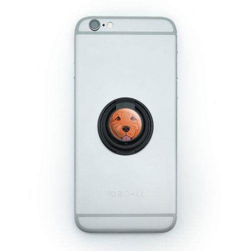 Dark Red Golden Retriever Face - Pet Dog Mobile Phone Ring Holder Stand