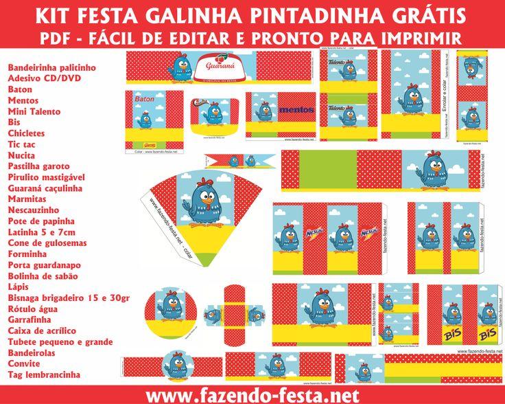 Kit festa galinha pintadinha completo, gratuito, fácil de editar e pronto para imprimir! www.fazendo-festa.net