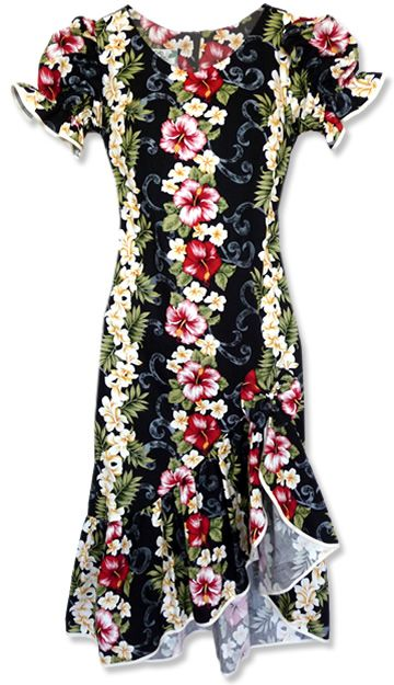 I like the flounce & hem of this dress. The print QUITE loud..... Makani Blackmist Hawaiian Dress
