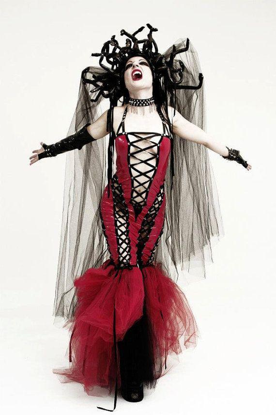 Medusa?? Red Pvc Corset Dress by DiktatorFashionLab on Etsy, €428.00