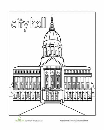 places around town coloring pages | Paint the Town: City Hall | Education.com | City buildings ...