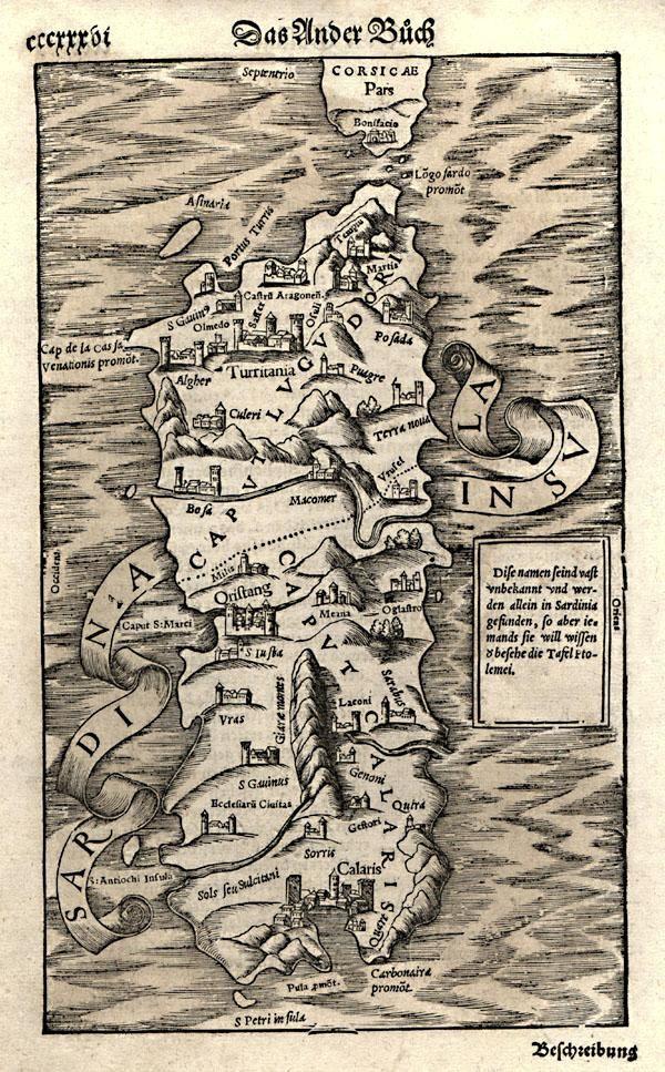 La Sardegna, come la vedevano 500 anni fa. Sardinia in a 500 years old map