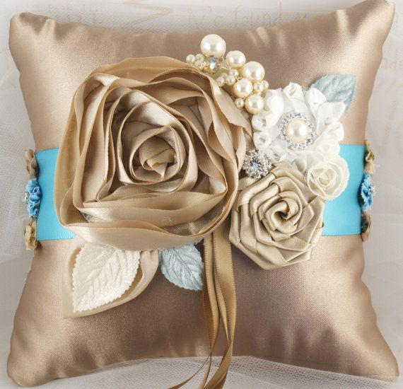Bridal Ring Bearer Pillow Wedding Pillow Bridal Pillow in Champagne, Ivory  and Tiffany Blue Robins Egg Blue. $80.00, via Etsy.