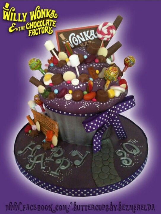 wonka factory giant cupcake: Cupcake Rosa-Choqu, Cakes Ideas, Giant Cupcakes, Willis Wonka, Parties Ideas, Cupcake Cakes, Wonka Cupcake, Birthday Cakes, Wonka Giant