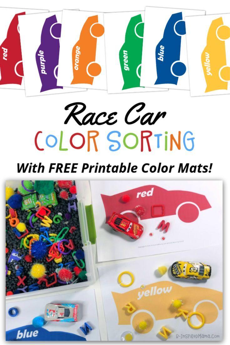 - A Race Car Color Sorting Sensory Bin With Printable Mats