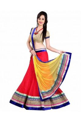 Red Semi Stictched Lehenga