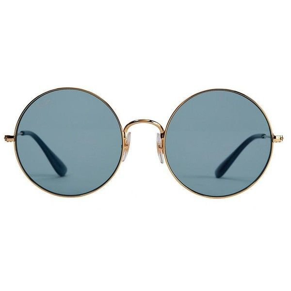 Ray-Ban Women's The Jajo Blue Round Sunglasses ($165) ❤ liked on Polyvore featuring accessories, eyewear, sunglasses, light blue, round frame glasses, ray ban sunglasses, ray ban glasses, blue glasses and round sunglasses