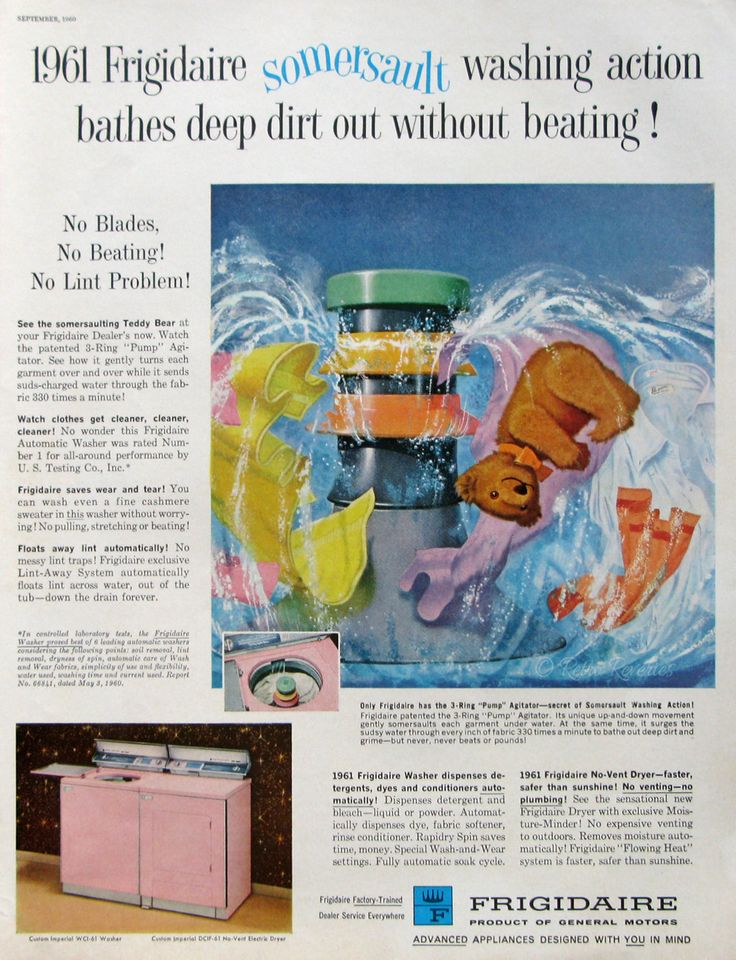 1960 Frigidaire Washing Machine Ad - Vintage Laundry Appliances - Pink Washer and Dryer - Teddy Bear Somersault - Midcentury America Ads by RetroReveries on Etsy https://www.etsy.com/listing/224091596/1960-frigidaire-washing-machine-ad