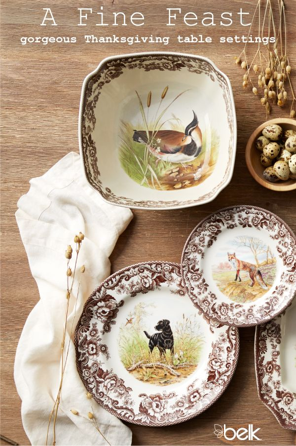 A memorable Thanksgiving meal starts with pretty centerpieces, Thanksgiving dinnerware and fall décor. Whether you go casual with rustic dinnerware sets or more classic with fine dinnerware in intricate patterns, show off your personal style this holiday season and make guests feel right at home. Shop all of your Thanksgiving table décor needs in store or online at Belk.com.