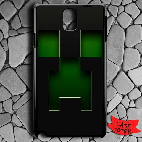 Black Creeper Face Minecraft Samsung Galaxy Note 3 Black Case
