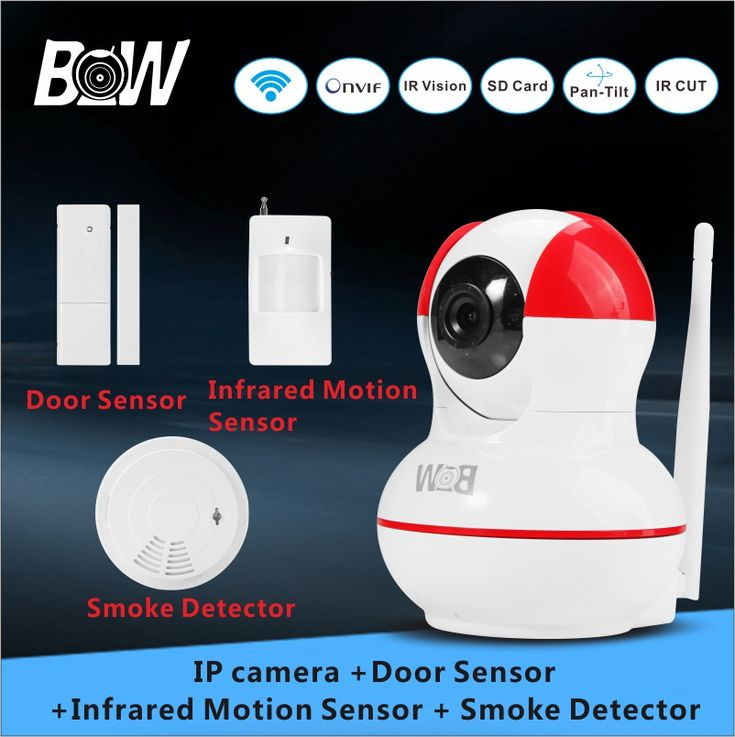 WiFi Security Camera 720P HD IP camera  +Door Sensor/Infrared Motion Sensor/Smoke Detector Video Surveillance Camera Wireless