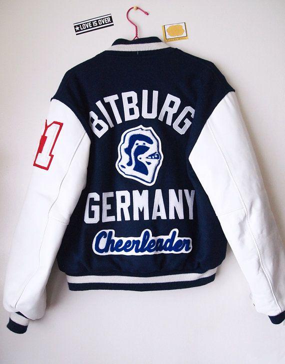 60s VARSITY JACKET // Vintage 1961 Leather Bitburg Germany Cheerleader Chenille Patch Letterman Womens M on Etsy, $150.00