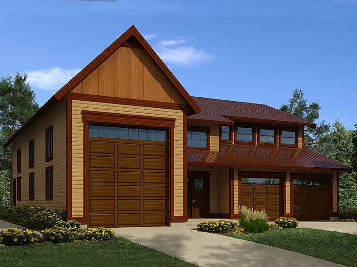 Tandem garage plans tandem garage plan with workshop rv for Carport with apartment above