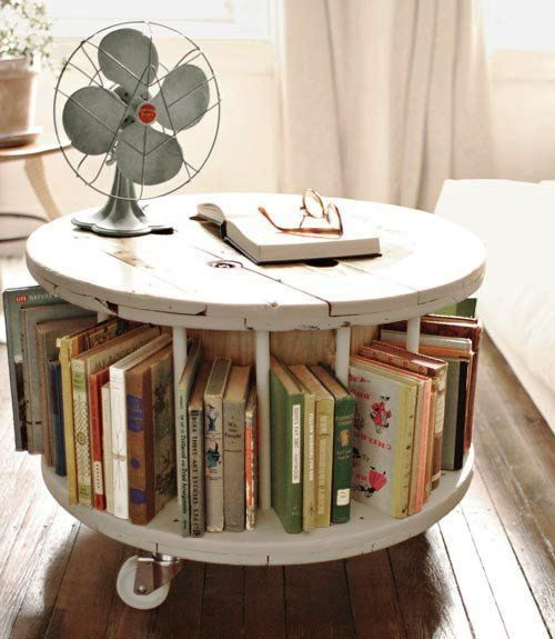 Shabby Chic round coffee table bookshelf, vintage furniture, repurposed Diamond in the spaces for a rolling liquor coffee table