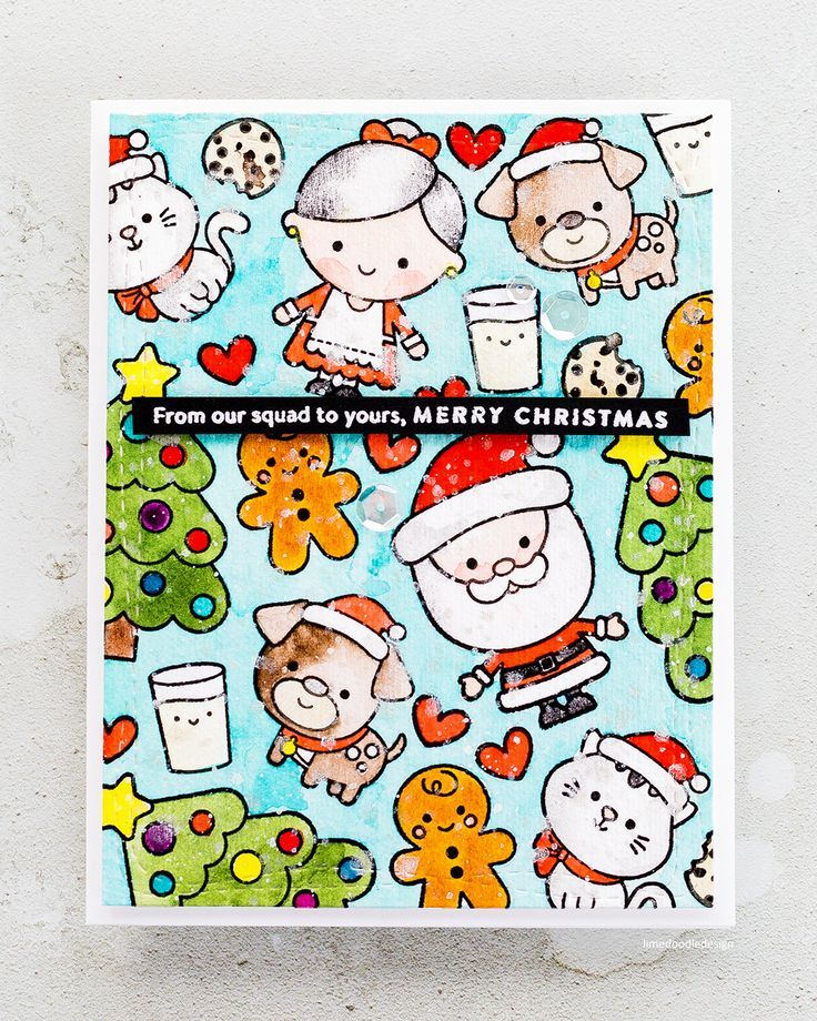 Watercoloured cute Christmas card by Debby Hughes using the stamp set from the Simon Says Stamp Milk and Cookies Card Kit.