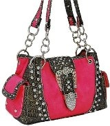 Fuchsia Western Buckle Bling Purse $45