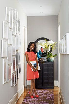 Step #1: Keep all your frames the same color and matte size uniform. Plus, other steps to creating the perfect photo montage gallery for your hallway: