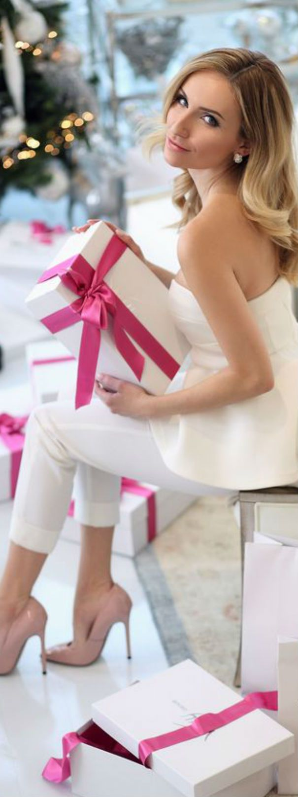Pretty wrapping -- love the ribbon!