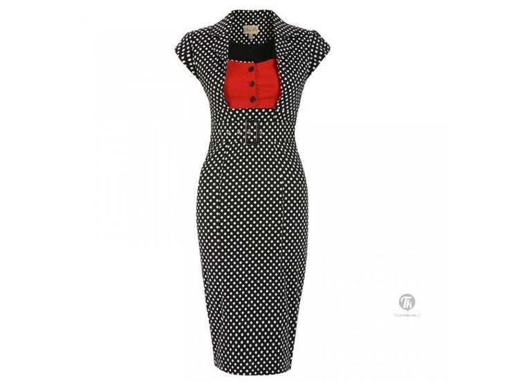LINDY BOP RETRO DÁMSKÉ POUZDROVÉ ŠATY Wynona černé S PUNTÍKY. Retro pouzdrové šaty ve stylu 50.let z dílny britské značky LINDY BOP nikdy nevyjdou z módy. Kvalitní střih, ušití, materiál.