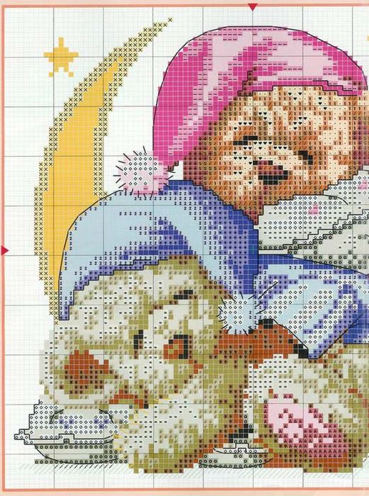 Nappy Bears cross stitch pattern #1