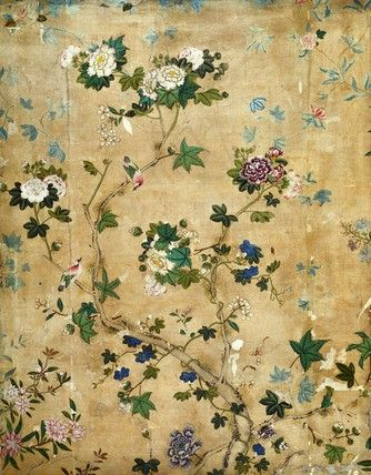 Gracie Wallpaper; a muted color scheme which has the look of a hand painted antique.