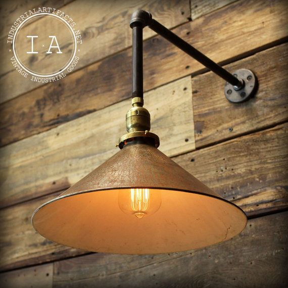 Vintage Industrial Gas Station Barn Lamp By
