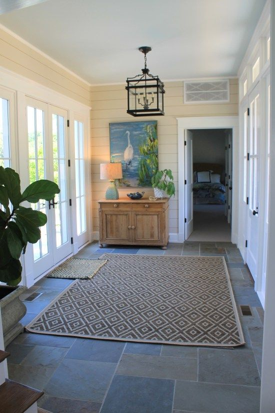 Blustone Clad Foyer In Nantucket Style Rivah Home © The Gracious Posse