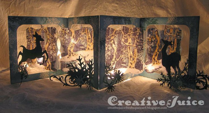 Lisa Hoel using the Sizzix Accordion Album - Creative Juice: Woodlands Accordian Candle Screen
