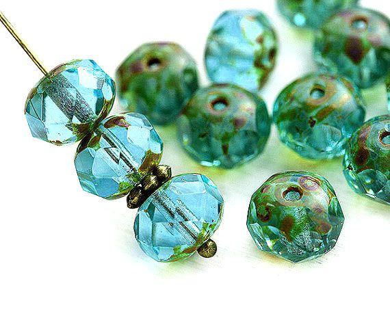6x8mm Picasso Aqua Blue Green Czech glass beads, donut, rondelle, gemstone cut, fire polished - 12Pc - 3061 by MayaHoney on Etsy