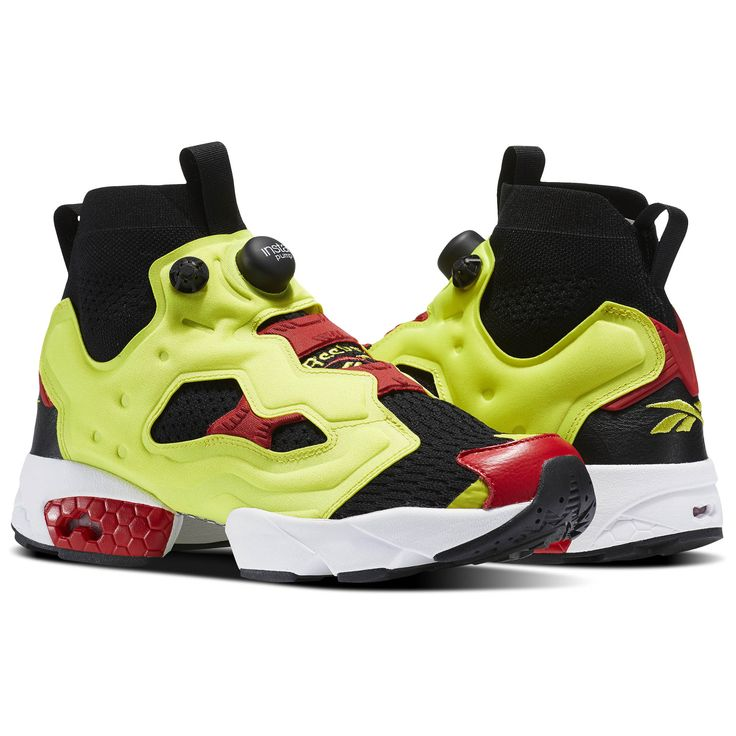 Reebok InstaPump Fury OG Ultraknit Men's Retro Running Shoes in Black /  Hyper Green / Reebok Red / White